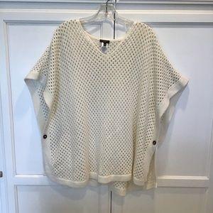 TALBOTS Ivory Knit Poncho, Size Medium